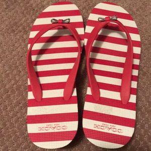Coach red flip flops